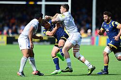 Jackson Willison of Worcester Warriors is pushed aside by Matt Banahan of Bath Rugby - Mandatory by-line: Dougie Allward/JMP - 15/04/2017 - RUGBY - Sixways Stadium - Worcester, England - Worcester Warriors v Bath Rugby - Aviva Premiership