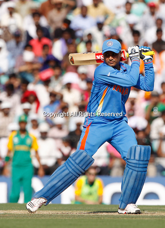 12.03.2011 Cricket World Cup India v South Africa from Nagpur.Virender Sehwag of india plays a shot during the match of the ICC Cricket World Cup between India and South Africa.