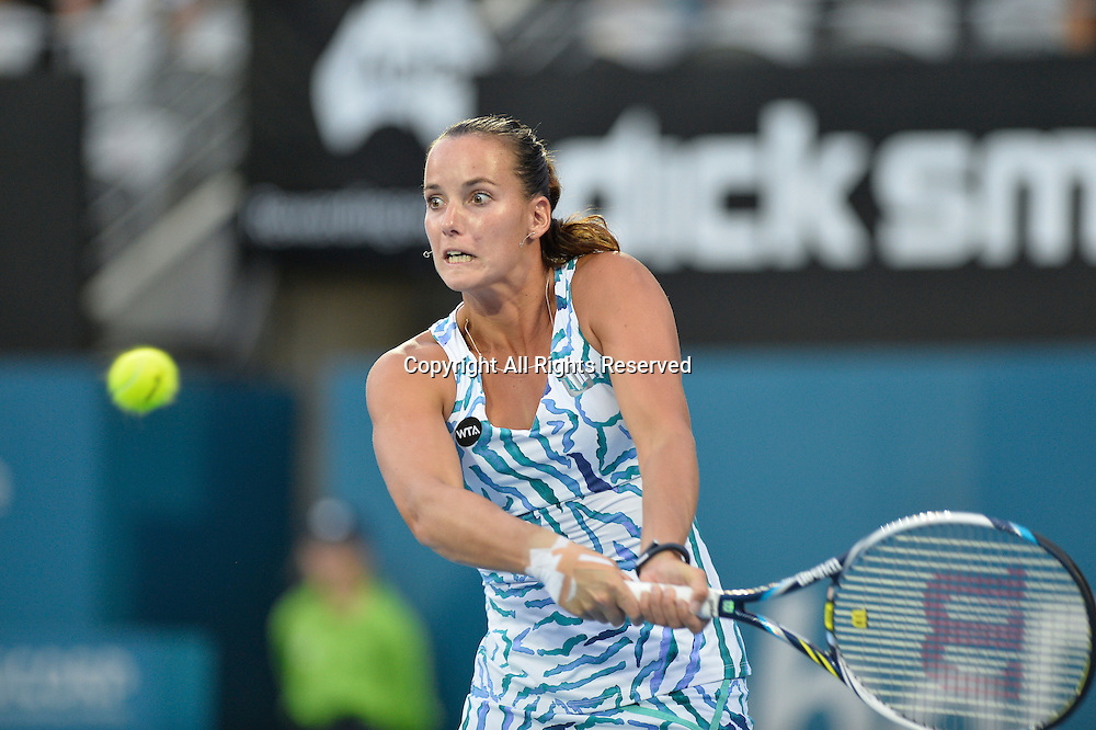 14.01.2015. Sydney, Australia. Apia Tennis International. Jarmila Gajdosova (AUS) in action against Petra Kvitova (CZE)