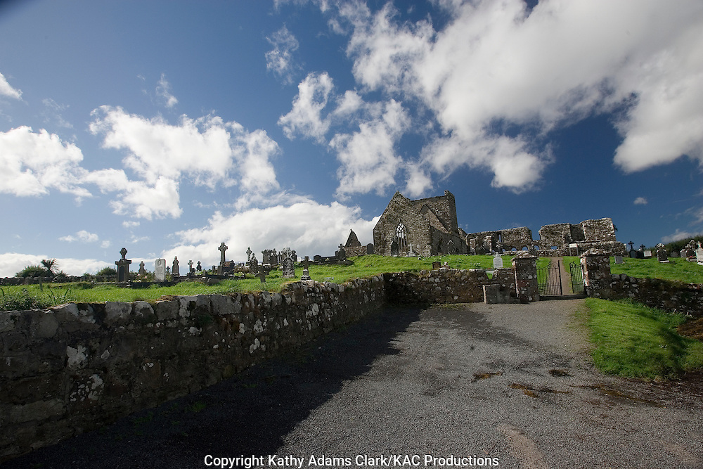 Burrishoole Abbey, County Mayo, Ireland. Burrishoole Priory, built by the Dominicans, recognized by Papal bull in 1486, Tower is low and broad, this is unusual.