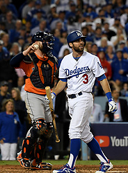 November 1, 2017 - Los Angeles, CA, USA - Los Angeles Dodgers' Chris Taylor (3) looks towards the scoreboard after striking out swinging with two runner on in the 6th inning of game seven of a World Series baseball game at Dodger Stadium on Wednesday Nov. 1, 2017 in Los Angeles. (Credit Image: © Keith Birmingham/Los Angeles Daily News via ZUMA Wire)