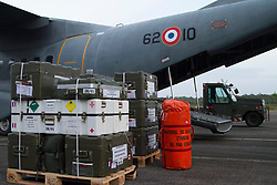 Humanitarian freight is loaded in French Guyana, France on September 9, 2017, to bolster relief support in French Overseas Territories after hurricane Irma struck. On 6 and 7 September 2017, the island was hit by Category 5 Hurricane Irma, which caused widespread and significant damage to buildings and infrastructure. A total of 11 deaths had been reported as of 8 September. France's Minister of the Interior said on 8 September that most of the schools were destroyed on the French half of the island. In addition to damage caused by high winds, there were reports of serious flood damage to businesses in the village of Marigot. Looting was also a serious problem. France sent aid as well as additional police and emergency personnel to the island. 95% of the structures were damaged or destroyed. Photo by MT Emmanuelle Mocquillon/ECPAD/ABACAPRESS.COM