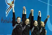 Bronze Medal for the New Zealand 4x200m Team. (L-R) Lauren Boyle, Helen Norfolk, Alison Fitch, and Melissa Ingram at the 2006 Commonwealth Games at the Sports and Aquatic Centre, Melbourne, Australia on 18 March, 2006. Photo: Sport the Library / www.photosport.nz
