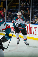 KELOWNA, CANADA - JANUARY 10: Kyle Pow #21 of the Kelowna Rockets warms up with the puck against the Spokane Chiefs on January 10, 2017 at Prospera Place in Kelowna, British Columbia, Canada.  (Photo by Marissa Baecker/Shoot the Breeze)  *** Local Caption ***