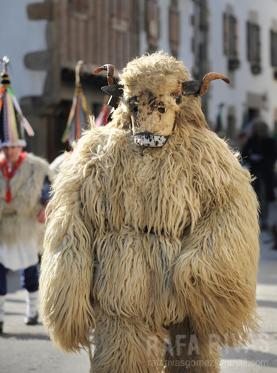 "A masked man dressed with sheep fur as Hartza (bear) and a group of ""Joaldunak"" (""those who play the bell"") march carrying big cowbells tied to their backs as they take part in the ancient carnival of Ituren, in the northern Spanish province of Navarra province, on January 30, 2012."