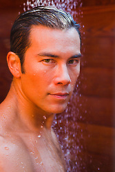 Asian-American-man-in-an-outdoor-shower