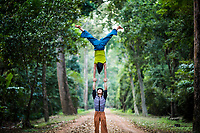 Two Phare Circus performers pose for a photograph in Siem Reap, Cambodia.