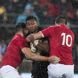 Waisake Naholo tackled during game 9 of the British and Irish Lions 2017 Tour of New Zealand, the second Test match between  The All Blacks and British and Irish Lions, Westpac Stadium, Wellington, Saturday 1st July 2017<br /> (Photo by Kevin Booth Steve Haag Sports)<br /> <br /> Images for social media must have consent from Steve Haag