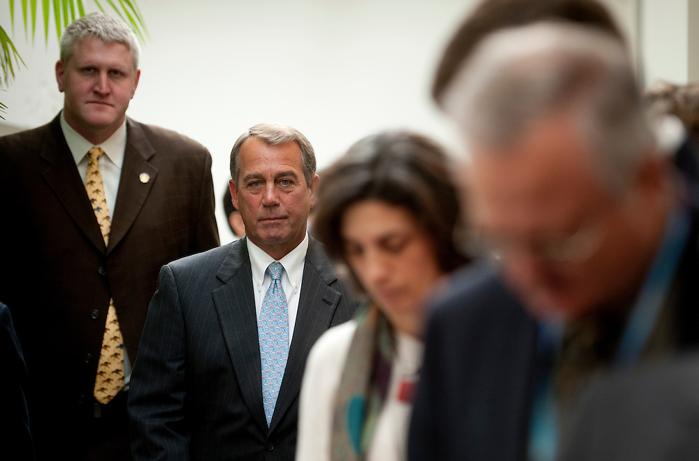 Jan 19, 2011 - Washington, District of Columbia, U.S. - Speaker of the House JOHN BOEHNER (R-OH) arrives for  a press conference on Wednesday about the Republican's plans to repeal the Affordable Care Act passed last year..(Credit Image: © Pete Marovich/ZUMA Press)