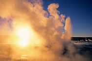 Fountain Geyser at sunset, Fountain Paint Pot area, Yellowstone National Park, MONTANA