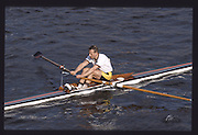 London. United Kingdom. Phillip KITTERMASTER, , 1990 Scullers Head of the River Race. River Thames, viewpoint Chiswick Bridge Saturday 07.04.1990<br /> <br /> [Mandatory Credit; Peter SPURRIER/Intersport Images] 19900407 Scullers Head, London Engl