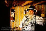 History interpreter Gary Anderson in enlisted men's quarters at Fort Mandan, Lewis & Clark's 1804-5 wintering post; Washburn, North Dakota