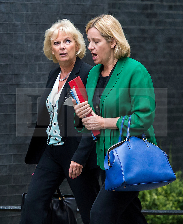© Licensed to London News Pictures. 08/09/2015. London, UK. L to R Minister for Small Business, Industry and Enterprise ANNA SOUBRY and Secretary of State for Energy and Climate Change AMBER RUDD  Arriving at 10 Downing Street in London for cabinet meeting. Photo credit: Ben Cawthra/LNP