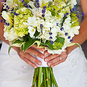 A bridal bouquet laced with sprigs of lavender