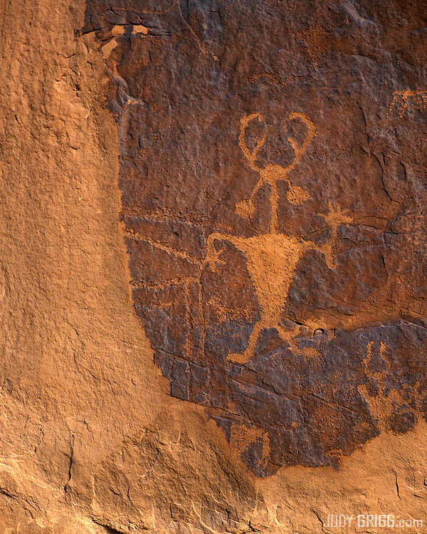 The historic 'Moab Man' petroglyph is part of the Golf Course Rock Art Panel located south of Moab, Utah.