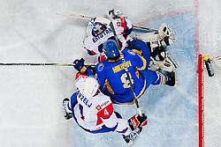 Robert Kristan of Slovenia covers a puck ice-hockey match between Slovenia and Ukraine at IIHF World Championship DIV. I Group A Slovenia 2012, on April 19, 2012 at SRC Stozice, Ljubljana, Slovenia. (Photo By Matic Klansek Velej / Sportida.com)