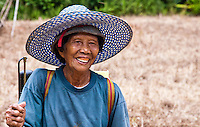 Old Iban woman out tending to her crop of rice in a jungle clearing.