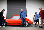 Image of Nick Psyllos and his 1972 Tangerine Porsche 911 T/ST at Luftgekuhlt in San Pedro, California, America west coast
