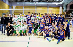 Players of Panvita and ACH celebrate after the volleyball game between OK Panvita Pomgrad and ACH Volley in Final of 1st DOL Slovenian National Championship 2014, on April 15, 2014 in Murska Sobota, Slovenia. ACH won 3-1 and became Slovenian Volleyball Champion 2014. Photo by Vid Ponikvar / Sportida