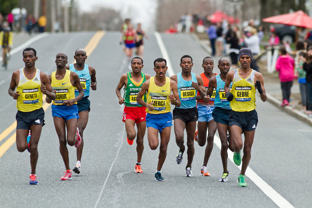 2013 Boston Marathon: lead group of elite men