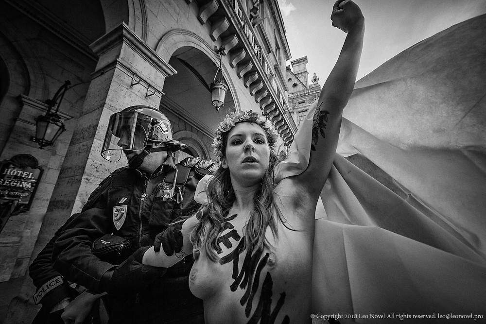 Sarah Constantin, arrested after attacking french far right groups' rally at the Jean of Arc day in Paris. Femen has been constantly threatened by french ultra nationalist groups.