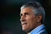 SEVILLE, SPAIN - OCTOBER 15:  Head Coach of Real Betis Balompie Quique Setien looks on during the La Liga match between Real Betis and Valencia at Estadio Benito Villamarin on October 15 in Seville.  (Photo by Aitor Alcalde Colomer/Getty Images)