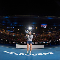 Caroline Wozniacki of Denmark during the trophy presentation after winning the women's singles championship match during the 2018 Australian Open on day 13 in Melbourne, Australia on Saturday night January 27, 2018.<br /> (Ben Solomon/Tennis Australia)