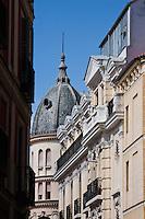 buildings viewed from plaza mayor in madrid, spain