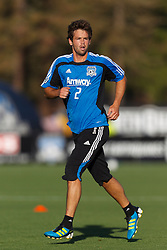 July 20, 2011; Santa Clara, CA, USA;  San Jose Earthquakes defender Bobby Burling (2) warms up before the game against the Vancouver Whitecaps at Buck Shaw Stadium. San Jose tied Vancouver 2-2.