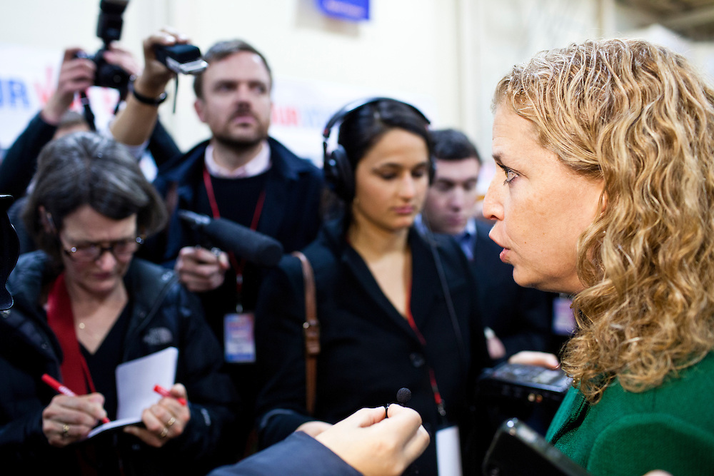Rep. Debbie Wasserman Schultz (D-FL) talks to reporters in the spin room following the WMUR/ABC News Debate at Saint Anselm College on Saturday, January 7, 2012 in Manchester, NH. Brendan Hoffman for the New York Times