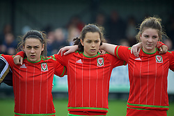 NEWPORT, WALES - Sunday, April 3, 2016: Wales' Meesha Dudley-Jones, Grace Horrell and Alice Griffiths line-up before the game against Northern Ireland on Day 3 of the Bob Docherty International Tournament 2016 at Dragon Park. (Pic by David Rawcliffe/Propaganda)