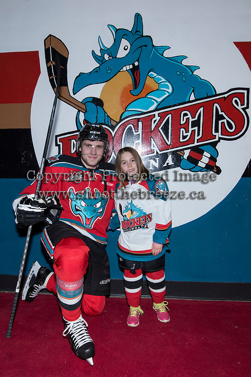KELOWNA, CANADA - MARCH 18: Leon Draisaitl #29 of Kelowna Rockets poses with the Pepsi Save-on Foods player of the game on March 18, 2015 at Prospera Place in Kelowna, British Columbia, Canada.  (Photo by Marissa Baecker/Shoot the Breeze)  *** Local Caption *** Leon Draisaitl; Pepsi player;