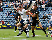 Jordan Hugill of Preston North End attempts to bring the ball down during the EFL Sky Bet Championship match between Preston North End and Millwall at Deepdale, Preston, England on 23 September 2017. Photo by Paul Thompson.