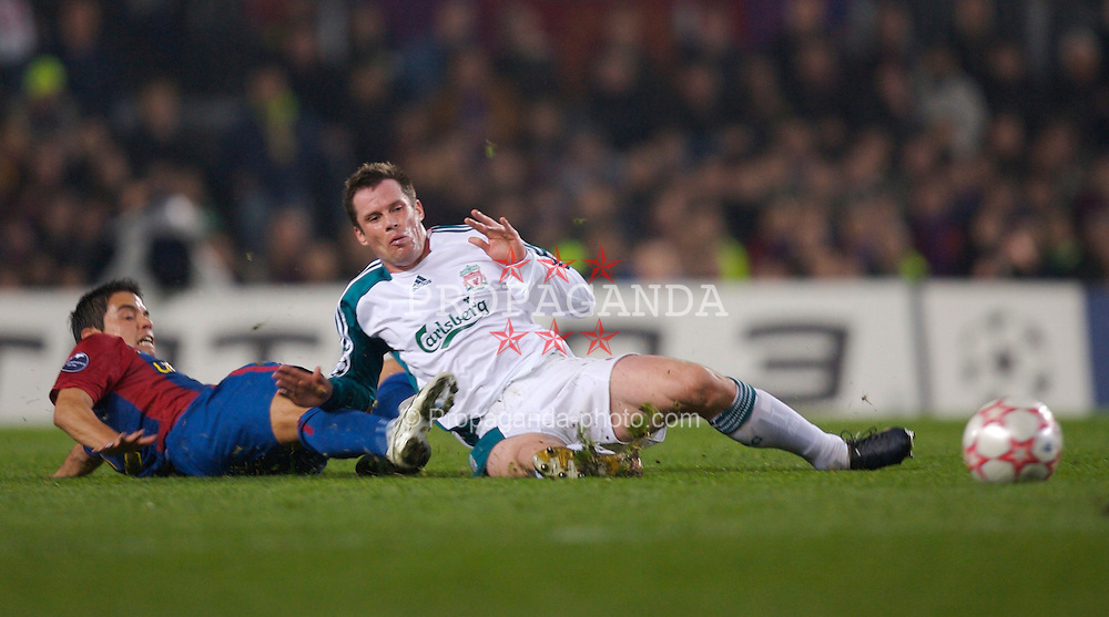 Barcelona, Spain - Wednesday, February 21, 2007: Liverpool's Jamie Carragher in action with FC Barcelona's Javier Saviola during the UEFA Champions League First Knockout Round 1st Leg match at the Nou Camp. (Pic by David Rawcliffe/Propaganda)