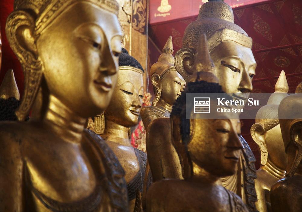 Buddhist statues in Wat Jom Kham (Zom Kham), Kengtung, Myanmar