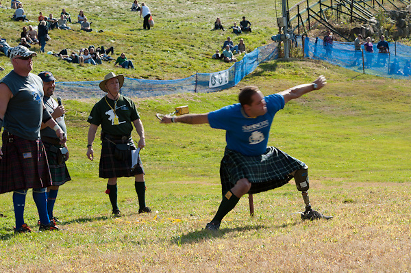 Athletes from the New England Disabled Sports compete at the New Hampshire Highland Games, Loon Mountain Resort, Lincoln, New Hampshire. All Content is Copyright of Kathie Fife Photography. Downloading, copying and using images without permission is a violation of Copyright.