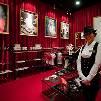 MACAU - FEBRUARY 01:  Staff member poses in the souvenir shop during the opening ceremony of the MJ Gallery at Ponte 16 Resort-Macau on February 1, 2010 in Macau.  Photo by Victor Fraile / studioEAST