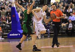 Ferran Lavina and Vlado Ilievski at basketball match of 6th Round of Group C in Euroleague between KK Union Olimpija and DKV Joventut, on December 4, 2008 in Arena Tivoli, Ljubljana, Slovenia. Union Olimpija : DKV Joventut 65:86. (Photo by Vid Ponikvar / Sportida)