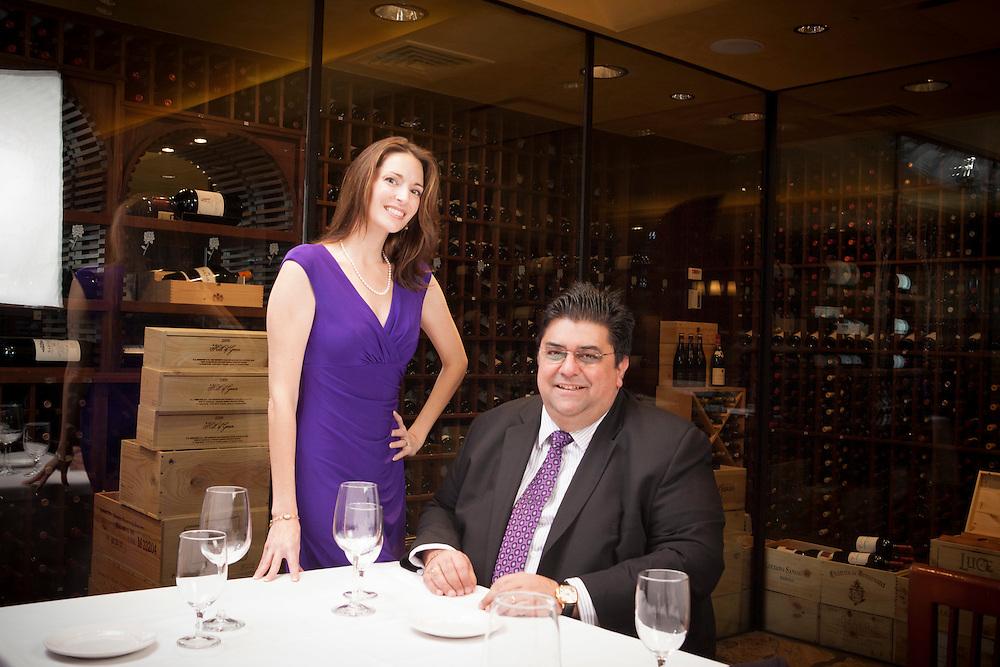 Omar Khan and Jennifer Simonetti-Bryan at Del Frisco International Business and Wine Society NYC