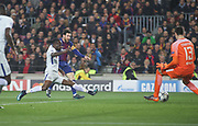 Barcelona's Lionel Messi scoring the third goal for Barcelona during the Champions League match between Barcelona and Chelsea at Camp Nou, Barcelona, Spain on 14 March 2018. Picture by Ahmad Morra.