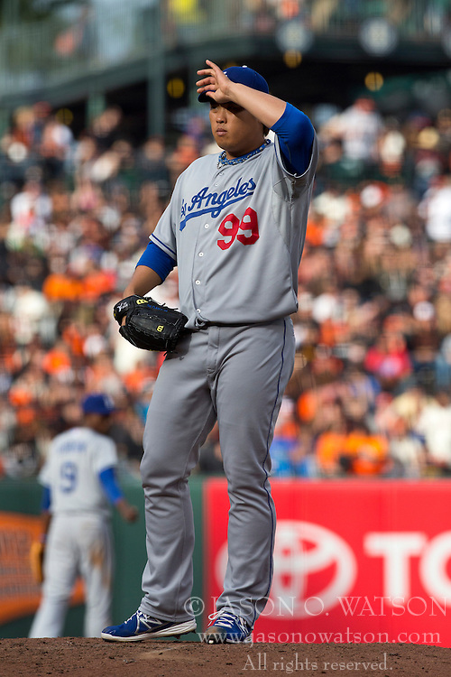 SAN FRANCISCO, CA - MAY 05:  Hyun-Jin Ryu #99 of the Los Angeles Dodgers reacts stands on the pitchers mound against the San Francisco Giants during the third inning at AT&T Park on May 5, 2013 in San Francisco, California. (Photo by Jason O. Watson/Getty Images) *** Local Caption *** Hyun-Jin Ryu