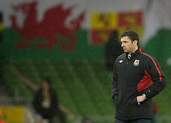 DUBLIN, IRELAND - Tuesday, February 8, 2011: Wales' manager Gary Speed MBE during the opening Carling Nations Cup match against the Republic of Ireland at the Aviva Stadium (Lansdowne Road). (Photo by David Rawcliffe/Propaganda)