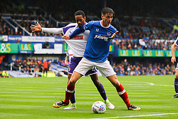 Oliver Hawkins of Portsmouth holds back Shaun Cummings of Rotherham United - Mandatory by-line: Jason Brown/JMP - 03/09/2017 - FOOTBALL - Fratton Park - Portsmouth, England - Portsmouth v Rotherham United - Sky Bet League Two