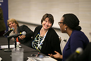"""This is a session titled """"Families on the Precipice: Navigating the Separation, Detention, and Reunification of Families at the U.S. Border""""  at the 2018 American Bar Association Annual Meeting.  Panelist Kimi Jackson speaks with Uzoamaka Emeka Nzelibe.  photos by Kathy Anderson"""