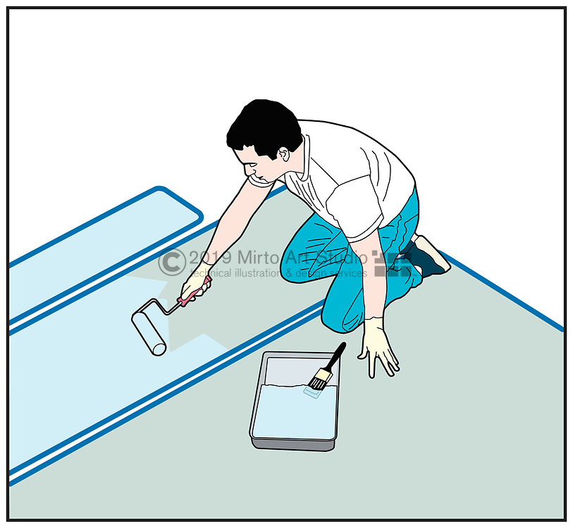 Vector artwork of a man applying paint with a roller to a boat deck, painting preparation and repair