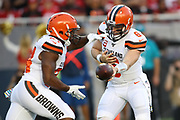 Cleveland Browns quarterback Baker Mayfield (6) hands off to Nick Chubb (24) during an NFL football game against the San Francisco 49ers, Monday, Oct. 7, 2019, in Santa Clara, Calif. The 49ers defeated the Browns (Peter Klein/Image of Sport)