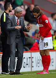 Charlton Athletic Head Coach, Jose Riga gives instructions to Charlton Athletic's Diego Poyet - Photo mandatory by-line: Robin White/JMP - Tel: Mobile: 07966 386802 18/04/2014 - SPORT - FOOTBALL - The Valley - Charlton - Charlton Athletic v Bolton Wanderers - Sky Bet Championship