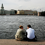 On the shores of the Neva River across from  the Winter Palace the main residence of the Russian Tsars located on the banks of the Neva River, in St. Petersburg. It is also known worldwide as the State  Hermitage Museum. <br /> Photography by Jose More