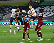 Tottenham's Davinson Sanchez's arm hits the ball in the build up to his sides opening goal West Ham's during the Premier League match at the Tottenham Hotspur Stadium, London. Picture date: 23rd June 2020. Picture credit should read: David Klein/Sportimage