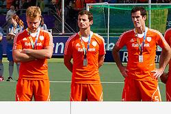 THE HAGUE - Rabobank Hockey World Cup 2014 - 15-06-2014 - MEN - FINAL AUSTRALIA - THE NETHERLANDS 6-1 -  teleurstelling bij vlnr Mink van der Weerden, Sander Baart en Marcel Balkestein.<br /> Copyright: Willem Vernes